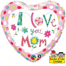 RE I love you Mum Flowers - foil balloon on a stick