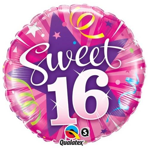 Sweet 16 Shining Star - foil balloon