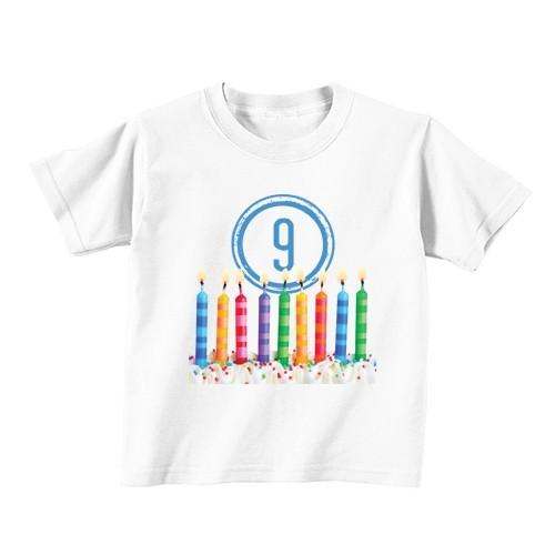 Kinder T-Shirt - Nummer 9 - Kerzen