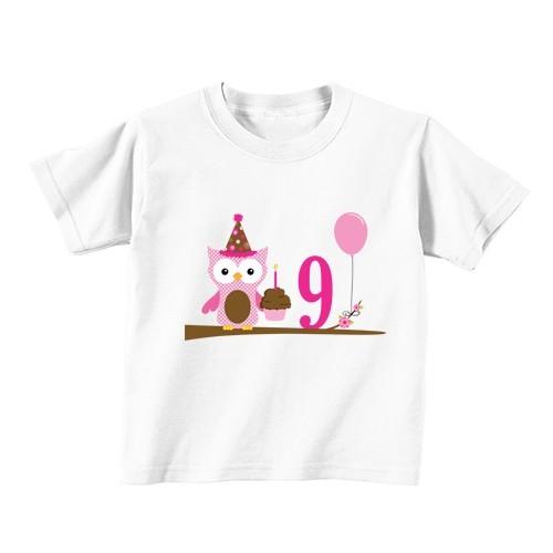 Kinder T-Shirt - Nummer 9 - Eule