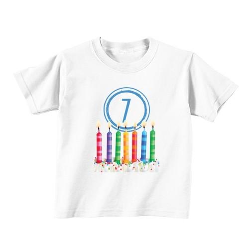 Kinder T-Shirt - Nummer 7 - Kerzen