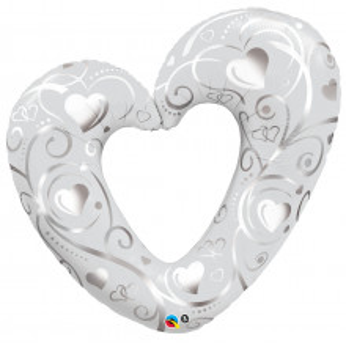 Hearts & Filigree Pearl White 105 cm - folija balon