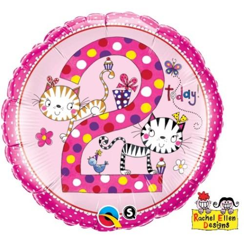 Rachel Ellen Age 2 Kittens Polka Dots - foil balloon