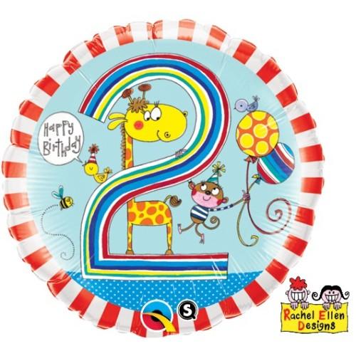 Rachel Ellen Age 2 Giraffe Stripes - foil balloon