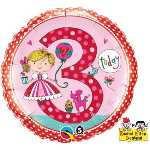 Rachel Ellen Age 3 Princess Polka Dots - folija balon
