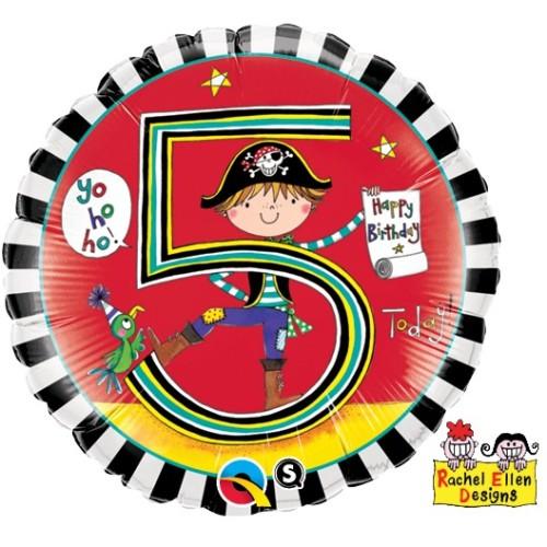 Rachel Ellen Age 5 Pirate Stripes - folija balon