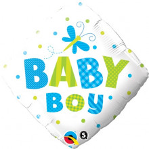 Baby Boy Dots & Dragonfly - foil balloon