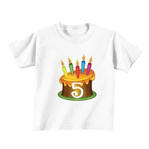 Kinder T-Shirt - Nummer 5 - gold Kuchen