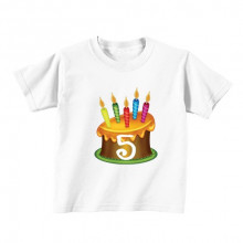 Kids T - Shirt - Number 5 - Gold cake