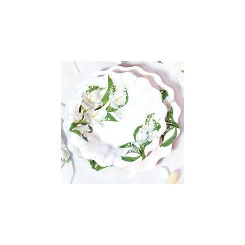 Beli cvetovi krožniki 27 cm