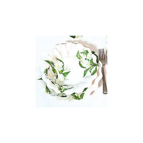 Beli cvetovi krožniki 24 cm