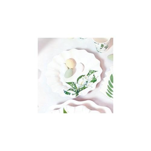 Beli cvetovi krožniki 15 cm