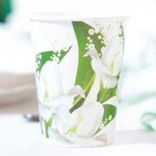 White flowers cups 250 mL