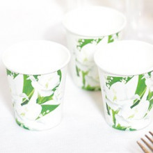 White flowers cups 80 ml