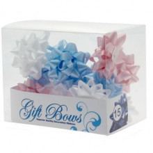 Ribbons in a box - blue, white and pink