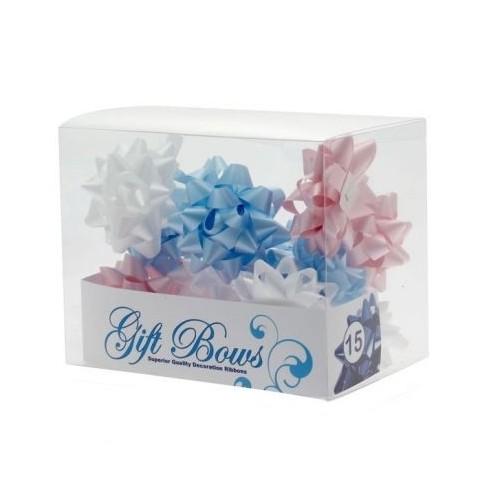 Schleifen in der Box - blau, weiß und rosa
