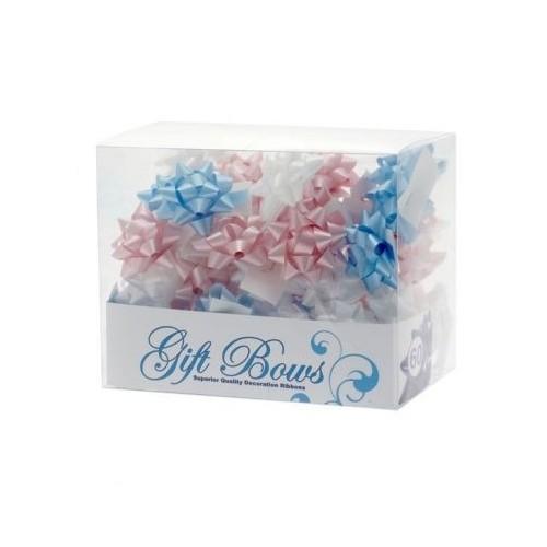 Mini mašne v škatlici - modra, bela in pink