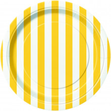 """Yellow Plates with stripes 7"""""""