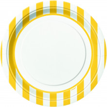 """Yellow Plates with stripes 9"""""""