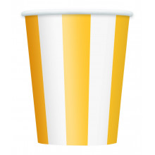 Yellow cups with stripes