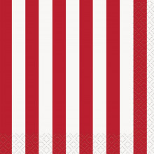 Red beverage napkins with stripes