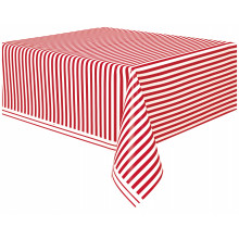 Tablecover with red stripes