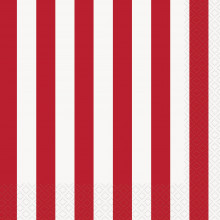 Red luncheon napkins with stripes