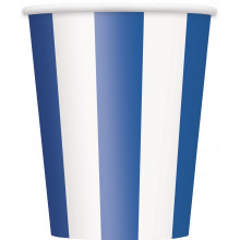 Blue cups with stripes