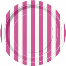 """Plates 7"""" - Pink with stripes"""