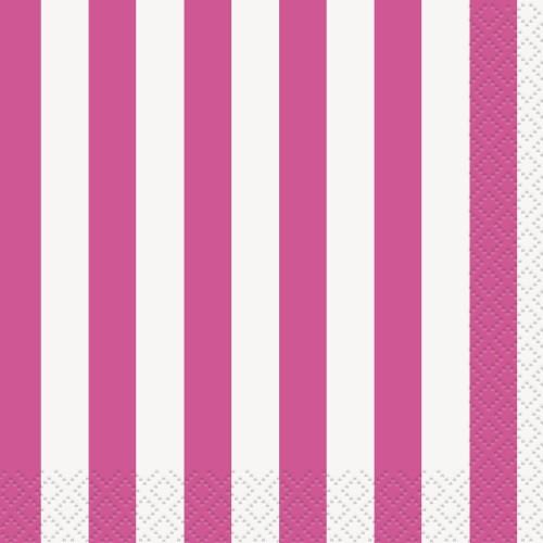 Beverage napkins - pink with stripes