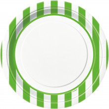 """Plates 9"""" - green with stripes"""
