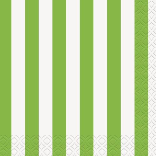 Green beverage napkins with stripes
