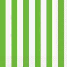 Green luncheon napkins with stripes