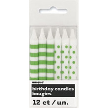 Candle - green, stripes and dots 12 pcs