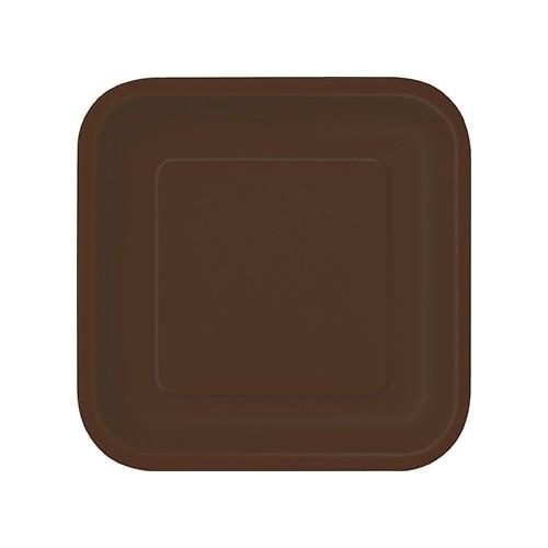 "Square plates 9"" - Brown 14 pcs"