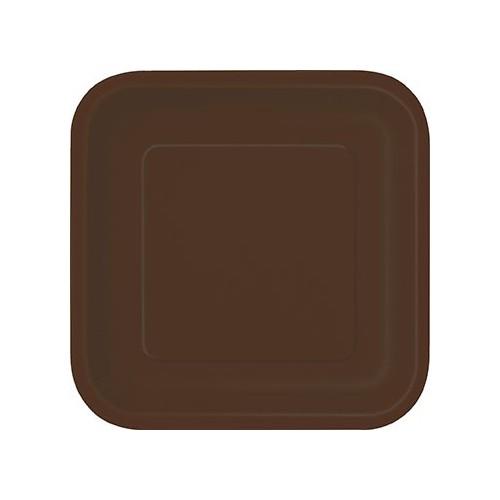 "Square plates 7"" - Brown 16 pcs"