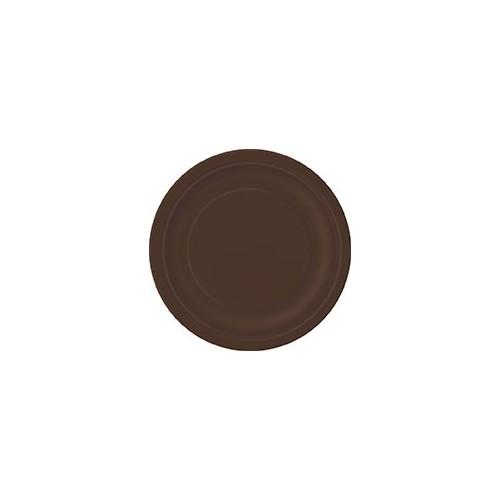 """Plates 9"""" - Brown 16 pcs"""