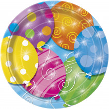 """Twinkle Balloons Plates 9"""""""