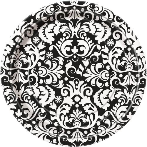 Krožniki 18 cm - črni Damask 8 kom