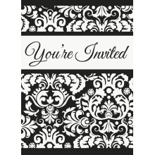 Invitations - Black Damask