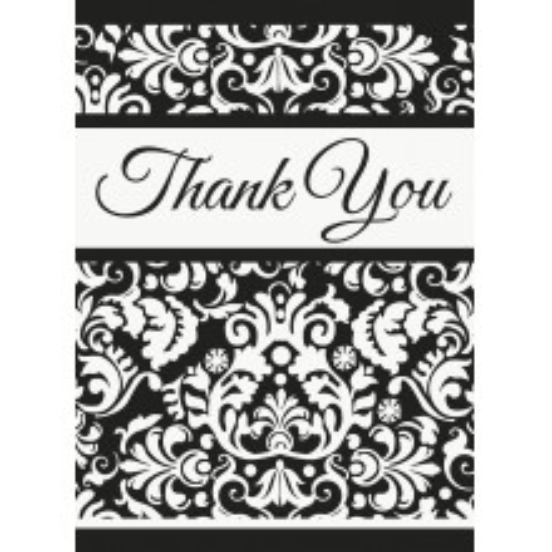 Thank You note - Black Damask