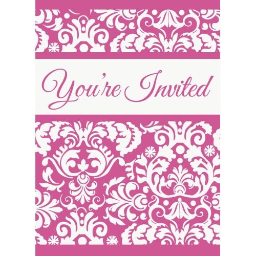 Invitations - Pink Damask