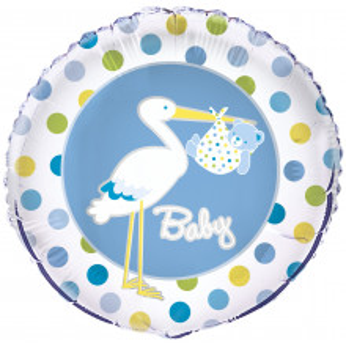 Baby Boy Stork - foil balloon