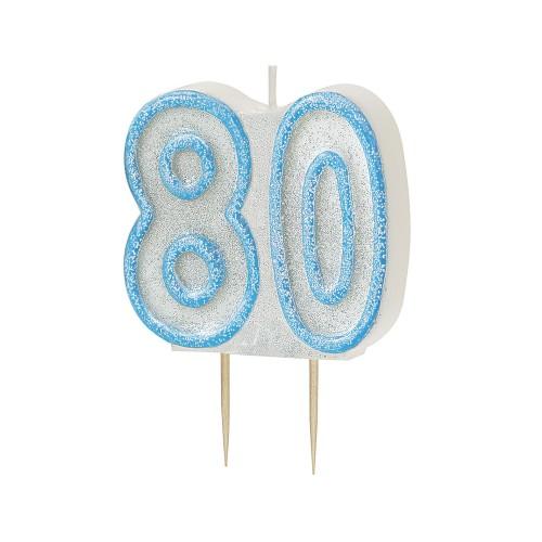Svečka bleščice - modra 80
