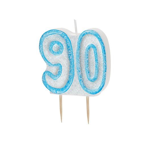 Svečka bleščice - modra 90