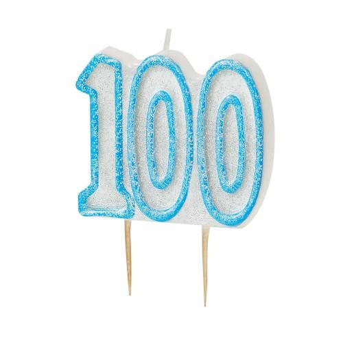 Svečka bleščice - modra 100