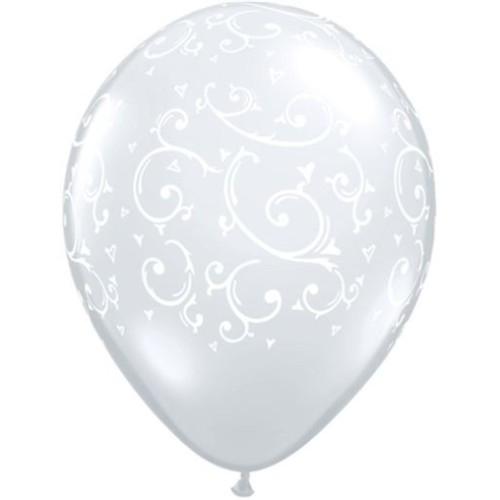 Balloon Filigree & Hearts - Diamond Clear