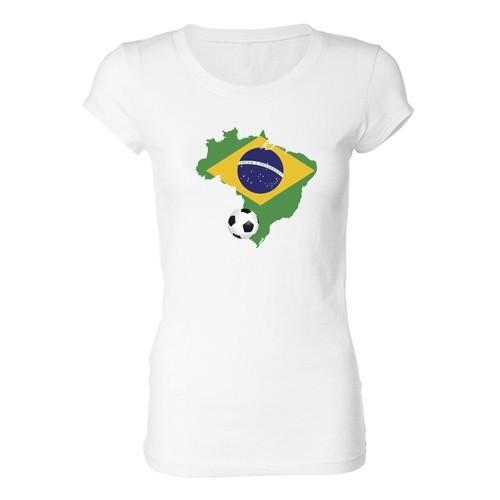 Woman T - Shirt - Brazil and ball