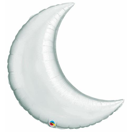 "Silver Crescent Moon - foil balloon 35"""