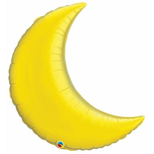 "Citrine Yellow Crescent Moon - foil balloon 35"""